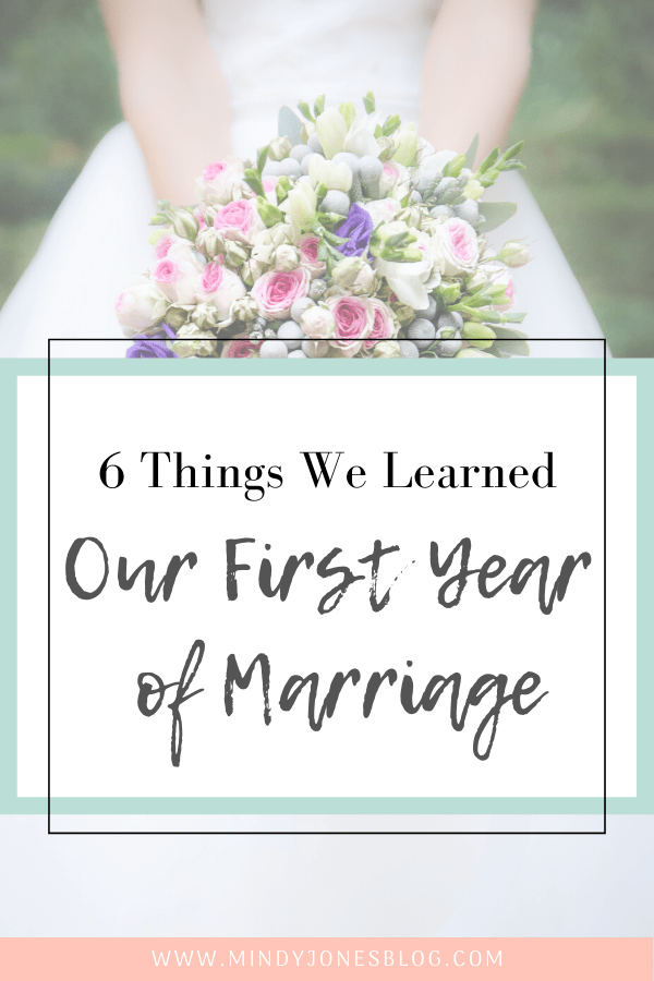 6 things we learned first year of marriage, bride holding flowers