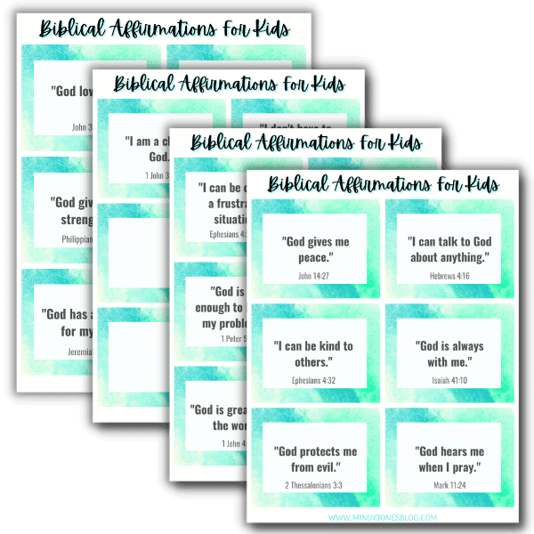 20 bibilcal affirmations for kids