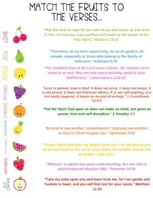 fruit of the spirit printable matching game