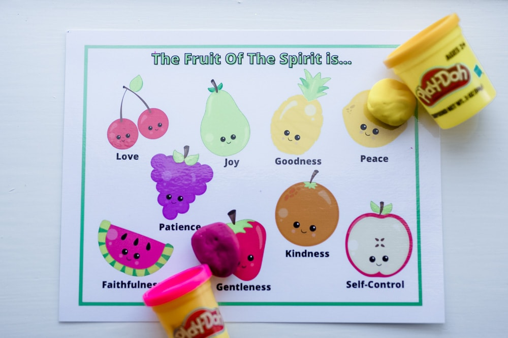 Free Printable Fruit of The Spirit Playdough Mats